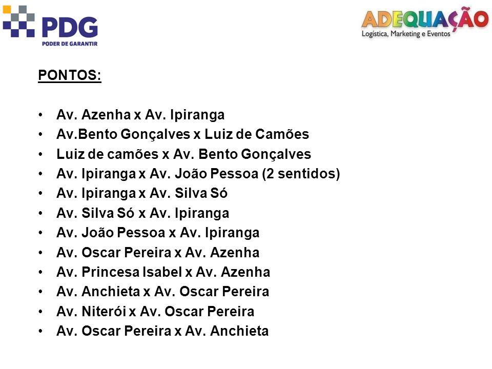 PONTOS: Av. Azenha x Av. Ipiranga Av.Bento Gonçalves x Luiz de Camões Luiz de camões x Av.