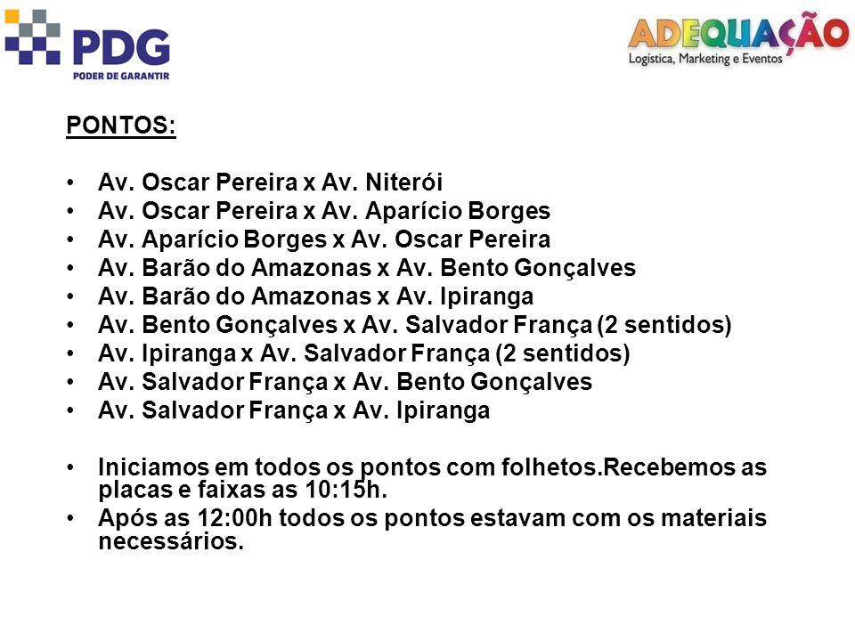 PONTOS: Av. Oscar Pereira x Av. Niterói Av. Oscar Pereira x Av.