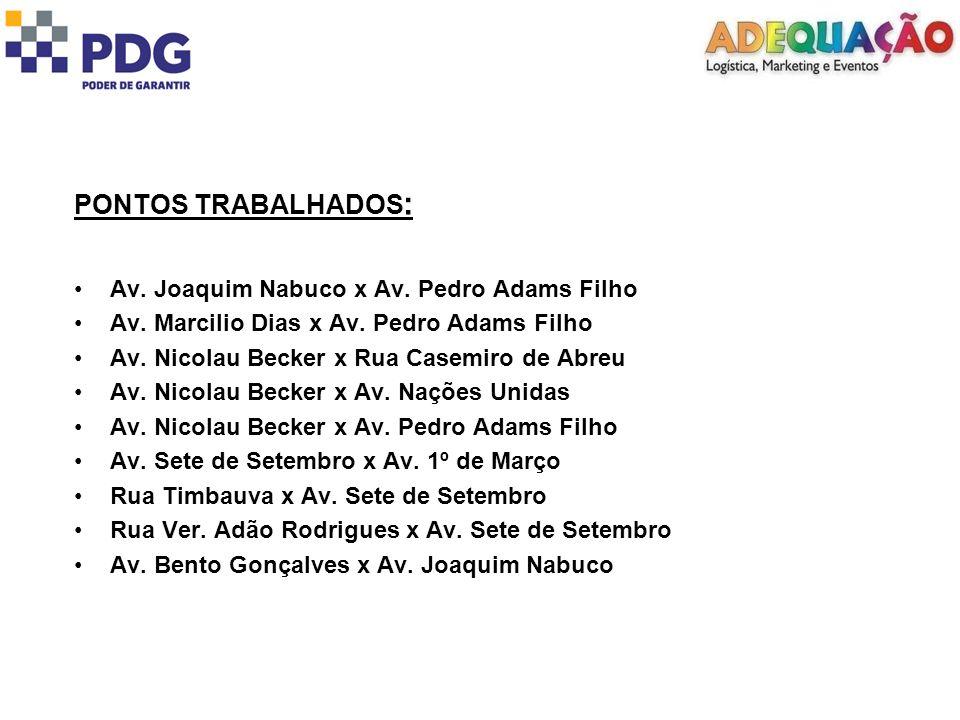 PONTOS TRABALHADOS : Av. Joaquim Nabuco x Av. Pedro Adams Filho Av.