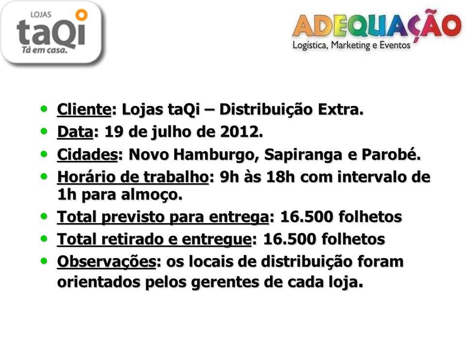 Cliente: Lojas taQi – Distribuição Extra. Cliente: Lojas taQi – Distribuição Extra.