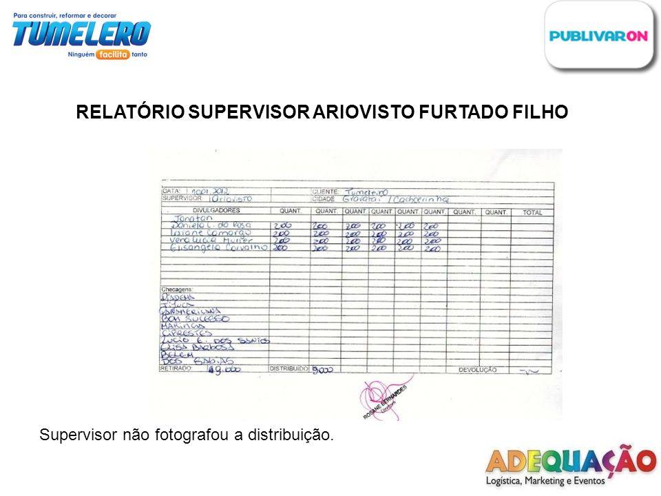 RELATÓRIO SUPERVISOR ARIOVISTO FURTADO FILHO Supervisor não fotografou a distribuição.