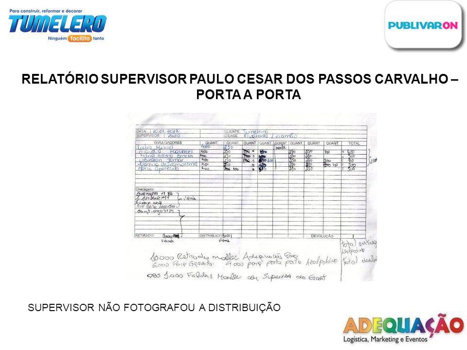 RELATÓRIO SUPERVISOR PAULO CESAR DOS PASSOS CARVALHO – PORTA A PORTA SUPERVISOR NÃO FOTOGRAFOU A DISTRIBUIÇÃO