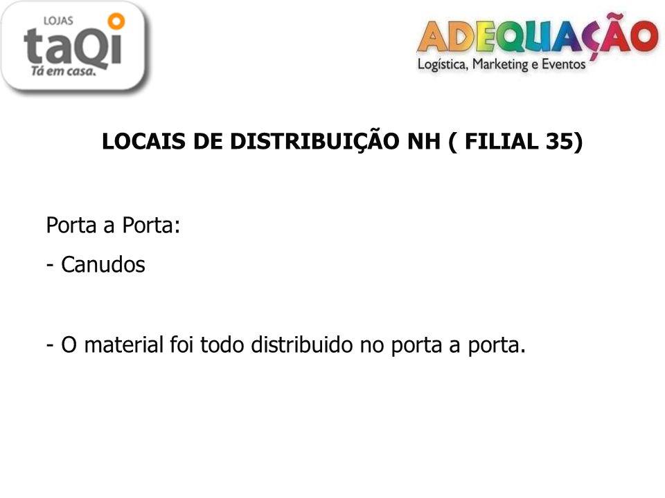 LOCAIS DE DISTRIBUIÇÃO NH ( FILIAL 35) Porta a Porta: - Canudos - O material foi todo distribuido no porta a porta.