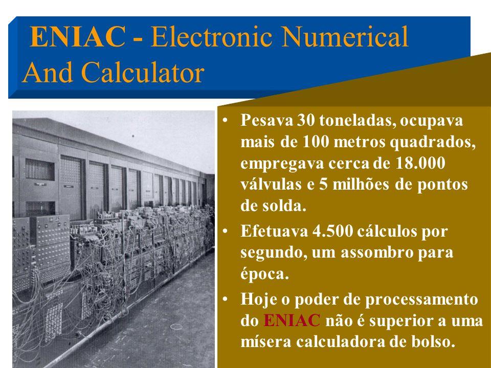 Apresentado aos jornalistas apenas em fevereiro de 1946 esta máquina calculou em 20 segundos a trajetória de um projétil que levava 30 segundos para a