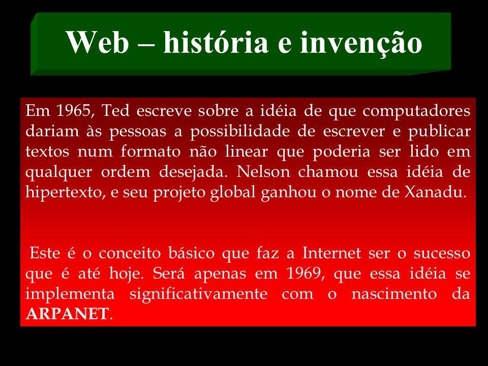 Web – história e invenção Em 1964, um pesquisador chamado Paul Baran projetou uma rede de computadores, que é a base da Internet até hoje. Ela não tin
