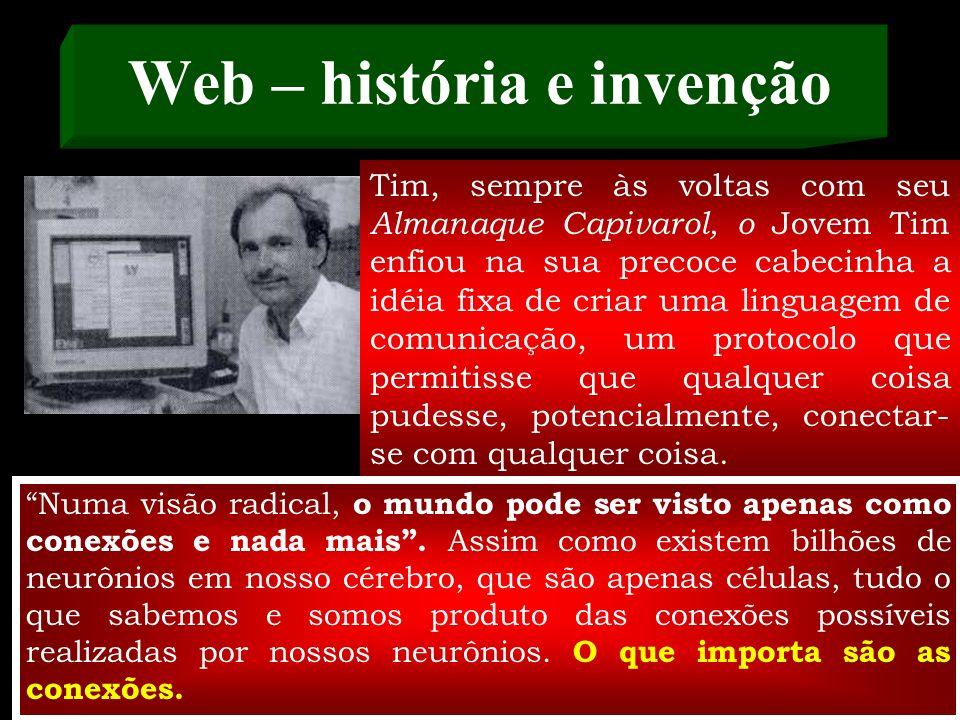 Tim Berners-Lee cria a Web No final dos anos 80, já temos a Internet em operação e a idéia do hipertexto formulada. O físico e matemático Tim Berners-