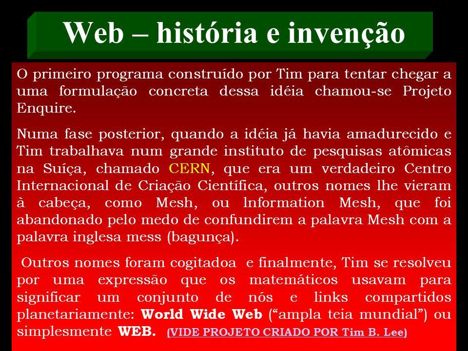 Web – história e invenção mina. Tim, sempre às voltas com seu Almanaque Capivarol, o Jovem Tim enfiou na sua precoce cabecinha a idéia fixa de criar u
