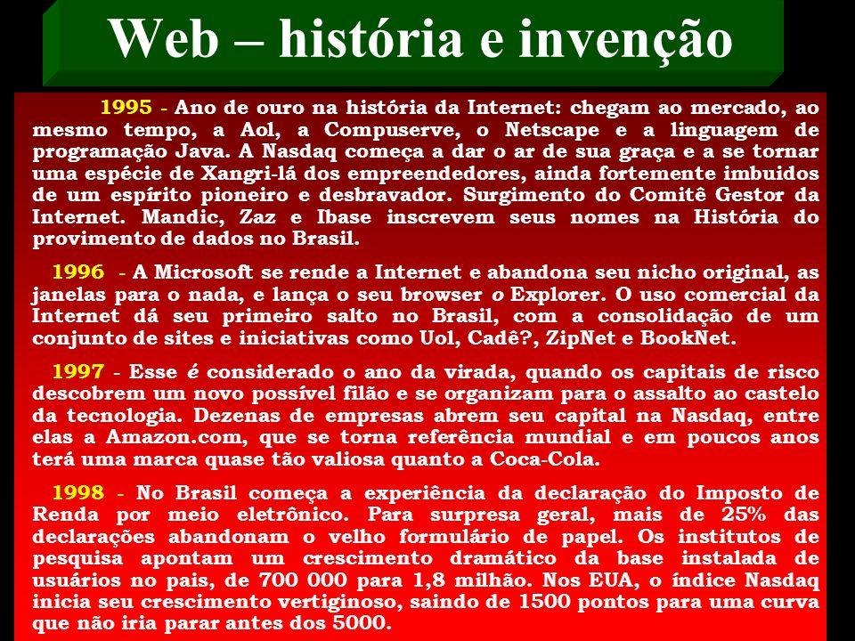 Web – Para os que gostam de uma cronologia, que serve como uma espécie de régua sobreposta sobre o passado, aí vai um resumo da década de 90 1990 - A