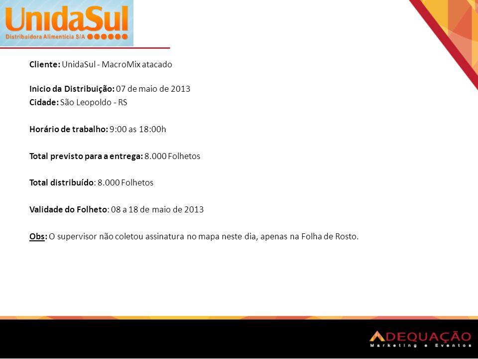 Cliente: UnidaSul - MacroMix atacado Inicio da Distribuição: 07 de maio de 2013 Cidade: São Leopoldo - RS Horário de trabalho: 9:00 as 18:00h Total pr