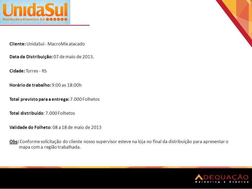 Cliente: UnidaSul - MacroMix atacado Data da Distribuição: 07 de maio de 2013. Cidade: Torres - RS Horário de trabalho: 9:00 as 18:00h Total previsto