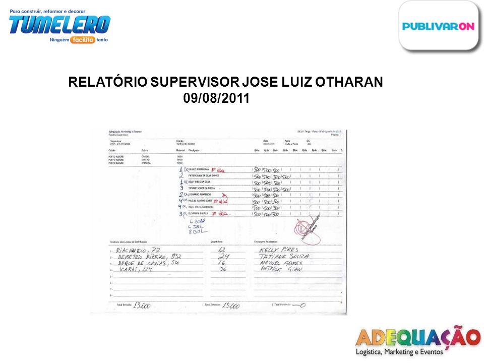 RELATÓRIO SUPERVISOR JOSE LUIZ OTHARAN 09/08/2011