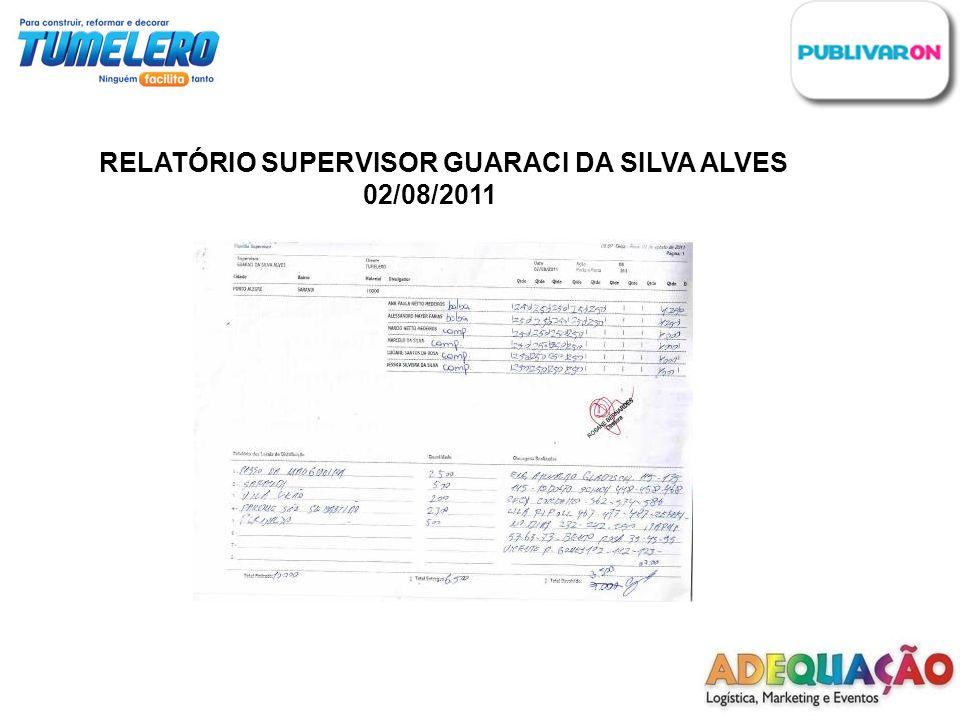 RELATÓRIO SUPERVISOR GUARACI DA SILVA ALVES 02/08/2011