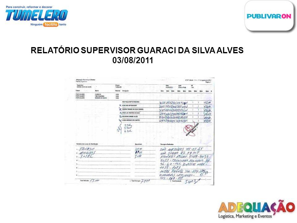 RELATÓRIO SUPERVISOR GUARACI DA SILVA ALVES 03/08/2011