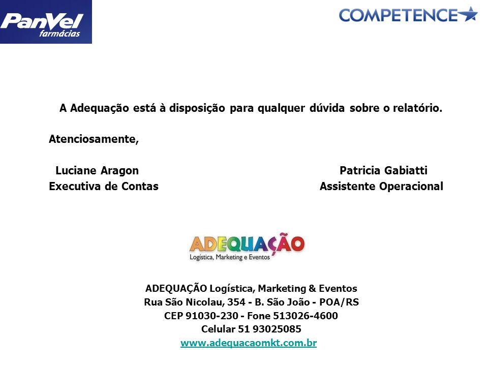 A Adequação está à disposição para qualquer dúvida sobre o relatório. Atenciosamente, Luciane Aragon Patricia Gabiatti Executiva de Contas Assistente
