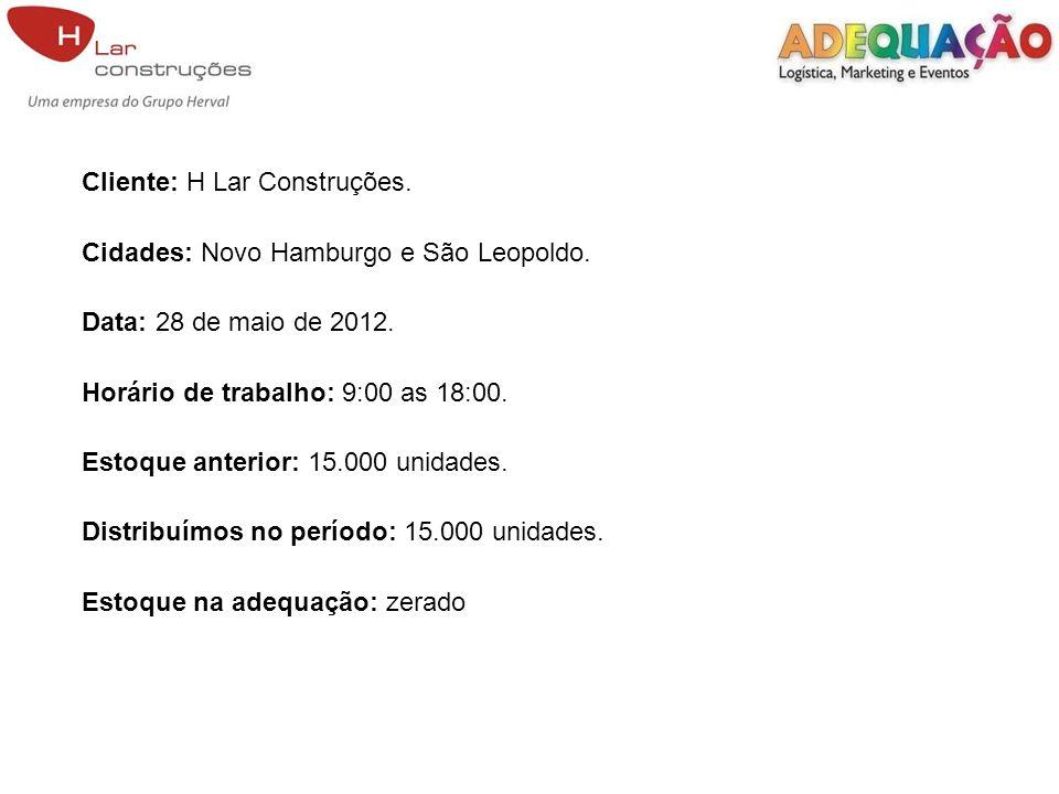 Cliente: H Lar Construções. Cidades: Novo Hamburgo e São Leopoldo. Data: 28 de maio de 2012. Horário de trabalho: 9:00 as 18:00. Estoque anterior: 15.