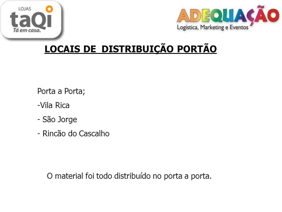 LOCAIS DE DISTRIBUIÇÃO PORTÃO Porta a Porta; -Vila Rica - São Jorge - Rincão do Cascalho O material foi todo distribuído no porta a porta.