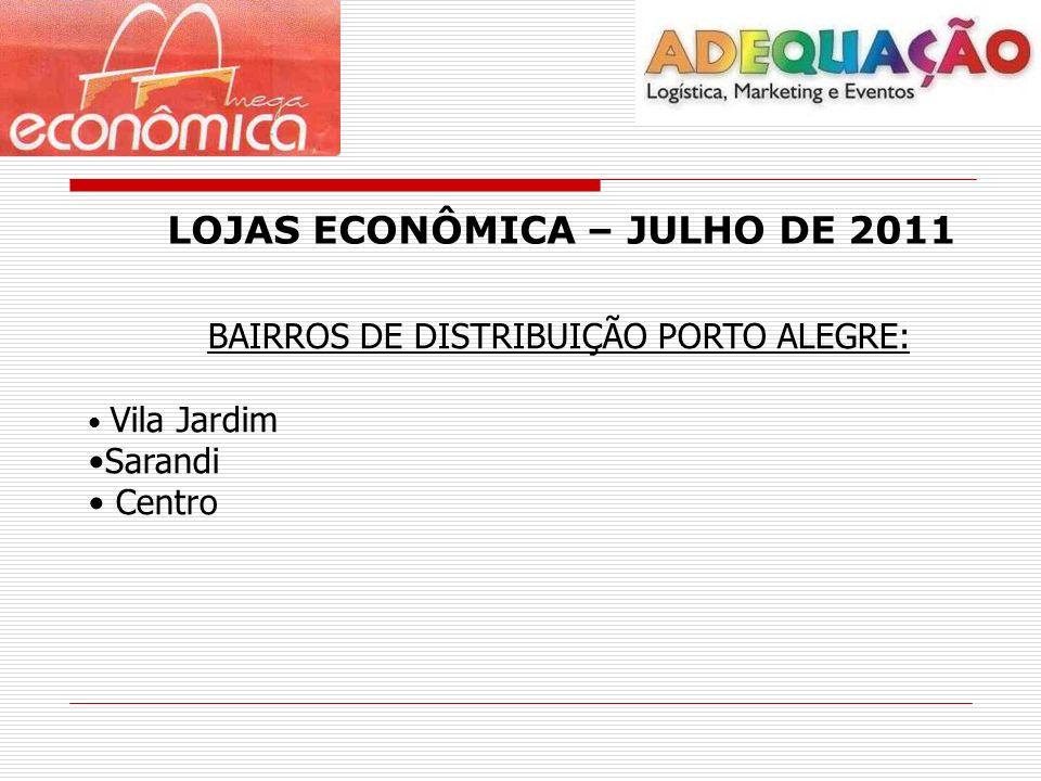 LOJAS ECONÔMICA – JULHO DE 2011 BAIRROS DE DISTRIBUIÇÃO PORTO ALEGRE: Vila Jardim Sarandi Centro