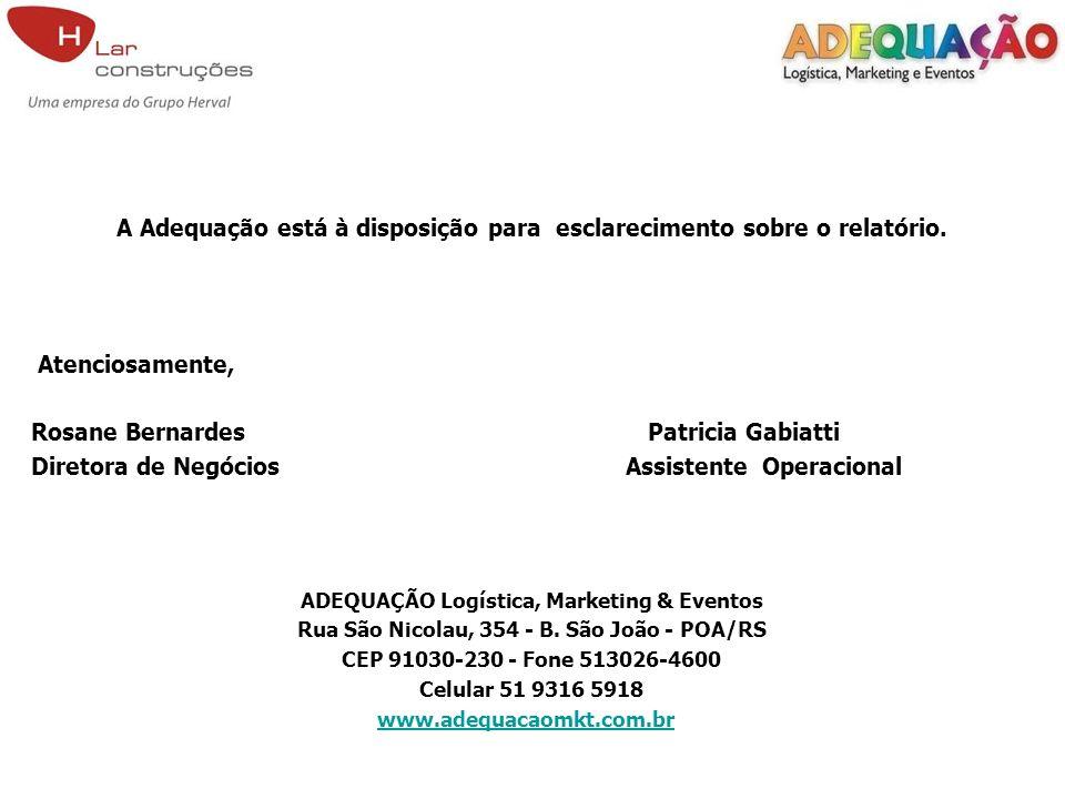 A Adequação está à disposição para esclarecimento sobre o relatório. Atenciosamente, Rosane Bernardes Patricia Gabiatti Diretora de Negócios Assistent