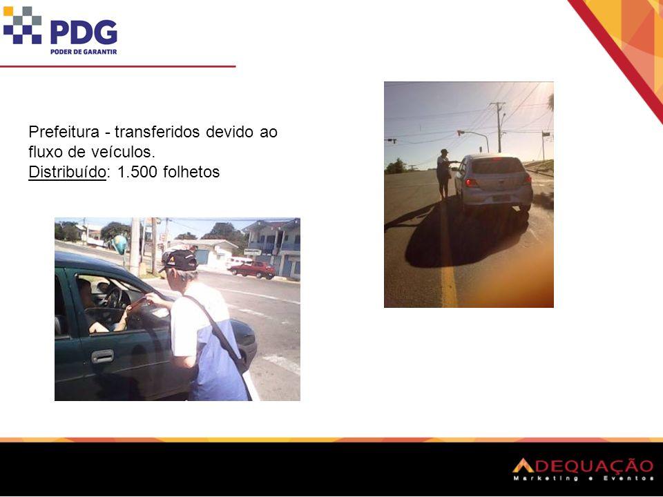 Prefeitura - transferidos devido ao fluxo de veículos. Distribuído: 1.500 folhetos
