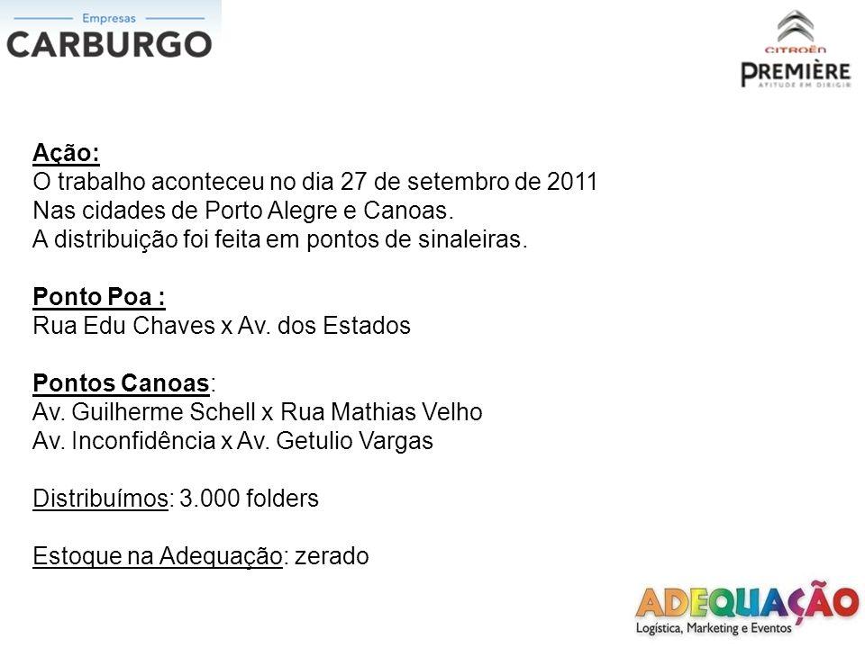 Ação: O trabalho aconteceu no dia 27 de setembro de 2011 Nas cidades de Porto Alegre e Canoas. A distribuição foi feita em pontos de sinaleiras. Ponto