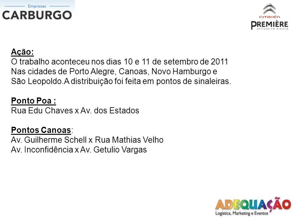 Ação: O trabalho aconteceu nos dias 10 e 11 de setembro de 2011 Nas cidades de Porto Alegre, Canoas, Novo Hamburgo e São Leopoldo.A distribuição foi feita em pontos de sinaleiras.
