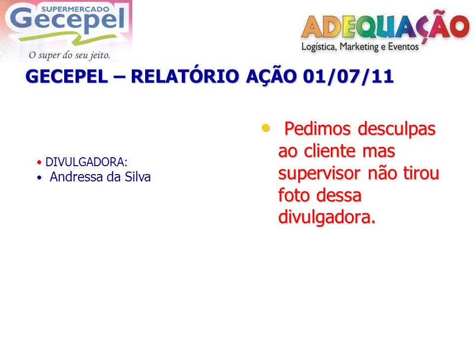 GECEPEL – RELATÓRIO AÇÃO 01/07/11 DIVULGADORA: Andressa da Silva Pedimos desculpas ao cliente mas supervisor não tirou foto dessa divulgadora. Pedimos