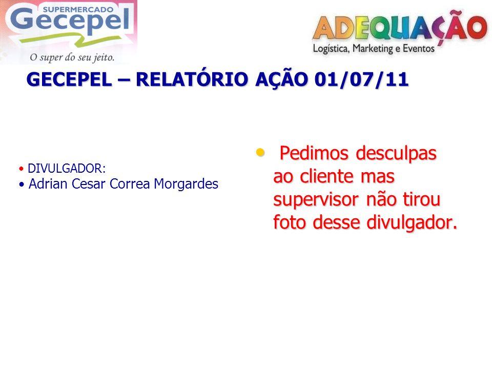 GECEPEL – RELATÓRIO AÇÃO 01/07/11 DIVULGADOR: Adrian Cesar Correa Morgardes Pedimos desculpas ao cliente mas supervisor não tirou foto desse divulgado