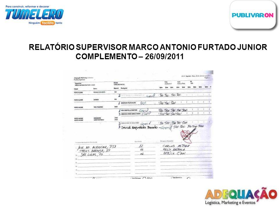 RELATÓRIO SUPERVISOR MARCO ANTONIO FURTADO JUNIOR COMPLEMENTO – 26/09/2011