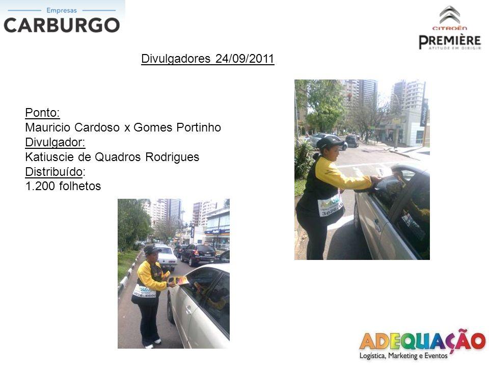 Divulgadores 24/09/2011 Ponto: BR 116 x Unisinos Divulgador: Carlos Henrique Mitter Alencastro Distribuído: 1.000 folhetos