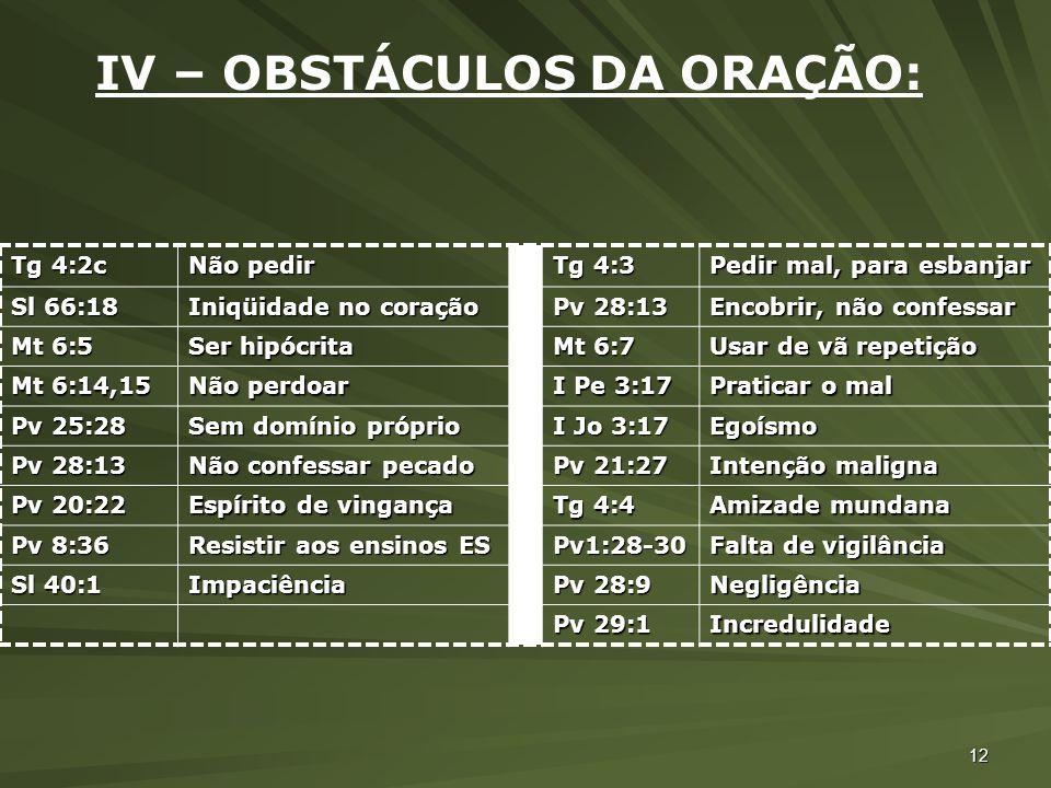 12 IV – OBSTÁCULOS DA ORAÇÃO: Tg 4:2c Não pedir Tg 4:3 Pedir mal, para esbanjar Sl 66:18 Iniqüidade no coração Pv 28:13 Encobrir, não confessar Mt 6:5