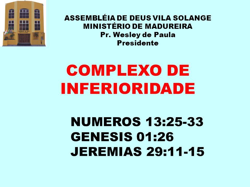 ASSEMBLÉIA DE DEUS VILA SOLANGE MINISTÉRIO DE MADUREIRA Pr. Wesley de Paula Presidente COMPLEXO DE INFERIORIDADE NUMEROS 13:25-33 GENESIS 01:26 JEREMI
