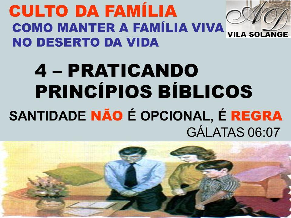 VILA SOLANGE www.advilasolange.com.br CULTO DA FAMÍLIA 4 – PRATICANDO PRINCÍPIOS BÍBLICOS COMO MANTER A FAMÍLIA VIVA NO DESERTO DA VIDA SANTIDADE NÃO