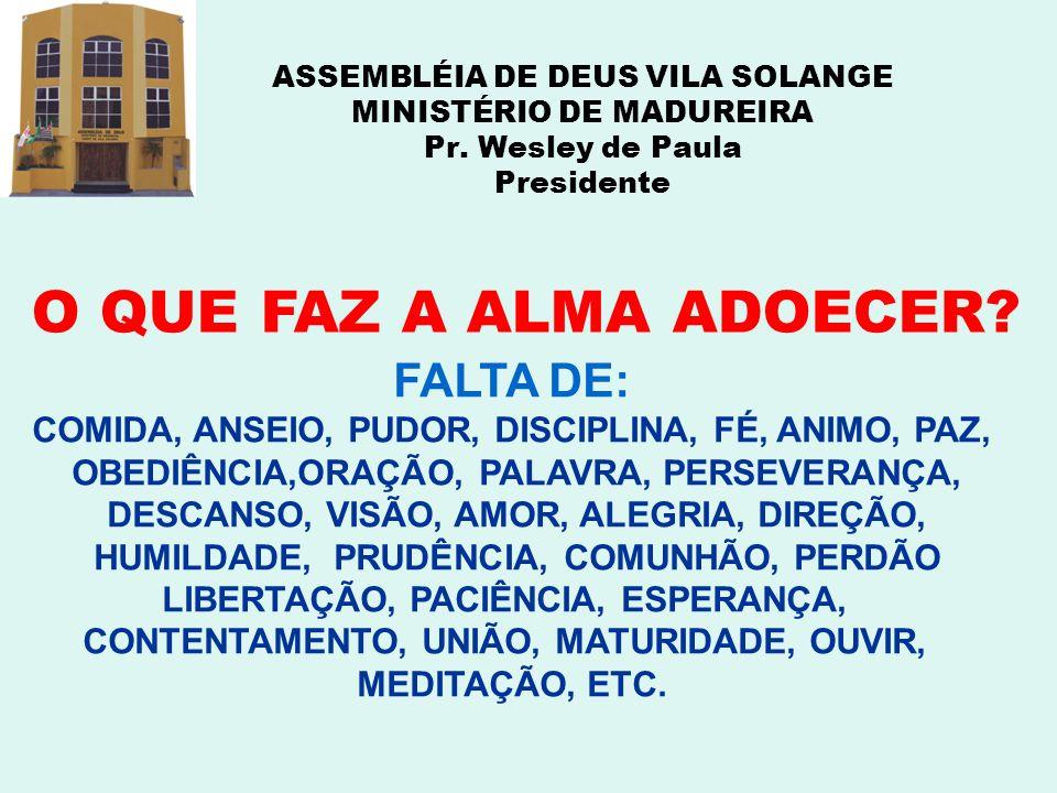 ASSEMBLÉIA DE DEUS VILA SOLANGE MINISTÉRIO DE MADUREIRA Pr. Wesley de Paula Presidente O QUE FAZ A ALMA ADOECER? FALTA DE: COMIDA, ANSEIO, PUDOR, DISC