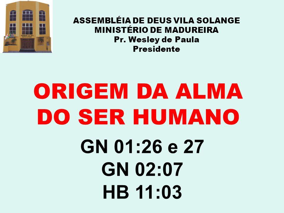 ASSEMBLÉIA DE DEUS VILA SOLANGE MINISTÉRIO DE MADUREIRA Pr. Wesley de Paula Presidente ORIGEM DA ALMA DO SER HUMANO GN 01:26 e 27 GN 02:07 HB 11:03