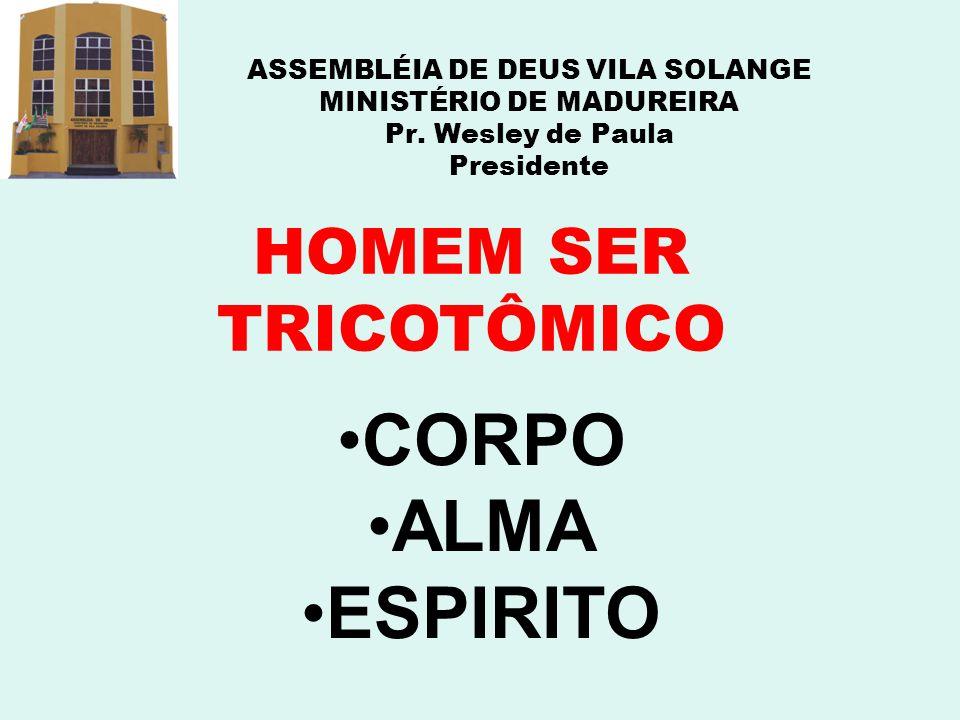 ASSEMBLÉIA DE DEUS VILA SOLANGE MINISTÉRIO DE MADUREIRA Pr. Wesley de Paula Presidente HOMEM SER TRICOTÔMICO CORPO ALMA ESPIRITO