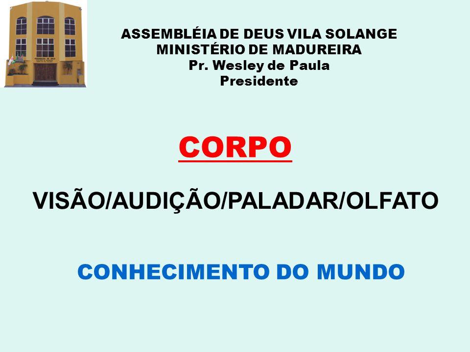 ASSEMBLÉIA DE DEUS VILA SOLANGE MINISTÉRIO DE MADUREIRA Pr. Wesley de Paula Presidente CORPO VISÃO/AUDIÇÃO/PALADAR/OLFATO CONHECIMENTO DO MUNDO