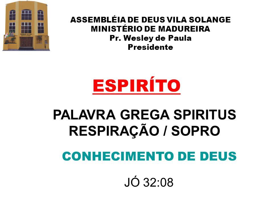 ASSEMBLÉIA DE DEUS VILA SOLANGE MINISTÉRIO DE MADUREIRA Pr. Wesley de Paula Presidente ESPIRÍTO PALAVRA GREGA SPIRITUS RESPIRAÇÃO / SOPRO CONHECIMENTO