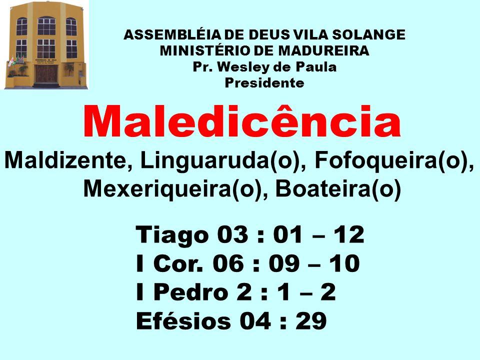 ASSEMBLÉIA DE DEUS VILA SOLANGE MINISTÉRIO DE MADUREIRA Pr. Wesley de Paula Presidente Maledicência Tiago 03 : 01 – 12 I Cor. 06 : 09 – 10 I Pedro 2 :