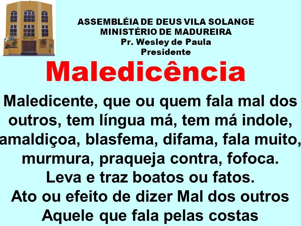 ASSEMBLÉIA DE DEUS VILA SOLANGE MINISTÉRIO DE MADUREIRA Pr. Wesley de Paula Presidente Maledicência Maledicente, que ou quem fala mal dos outros, tem