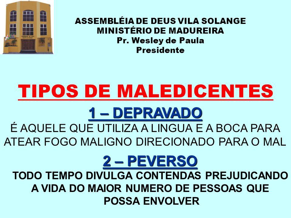 ASSEMBLÉIA DE DEUS VILA SOLANGE MINISTÉRIO DE MADUREIRA Pr. Wesley de Paula Presidente TIPOS DE MALEDICENTES 1 – DEPRAVADO É AQUELE QUE UTILIZA A LING