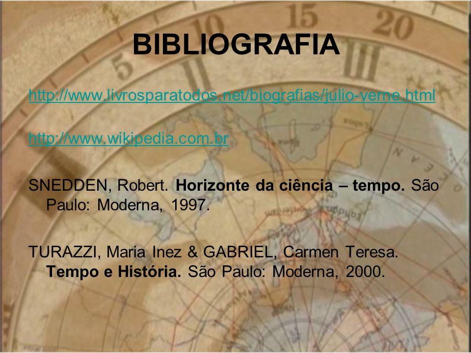 BIBLIOGRAFIA http://www.livrosparatodos.net/biografias/julio-verne.html http://www.wikipedia.com.br SNEDDEN, Robert. Horizonte da ciência – tempo. São