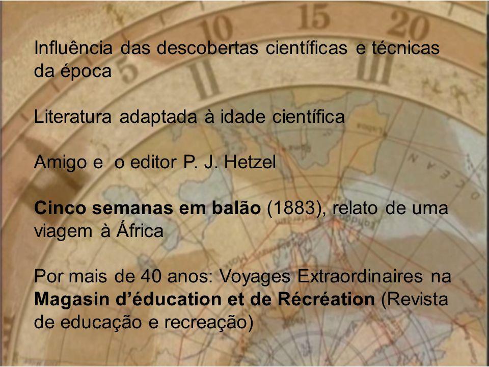 Influência das descobertas científicas e técnicas da época Literatura adaptada à idade científica Amigo e o editor P. J. Hetzel Cinco semanas em balão
