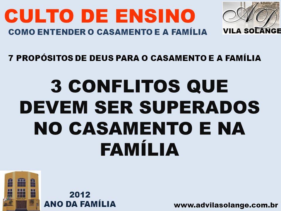 VILA SOLANGE www.advilasolange.com.br CULTO DE ENSINO COMO ENTENDER O CASAMENTO E A FAMÍLIA 7 PROPÓSITOS DE DEUS PARA O CASAMENTO E A FAMÍLIA 3 CONFLI