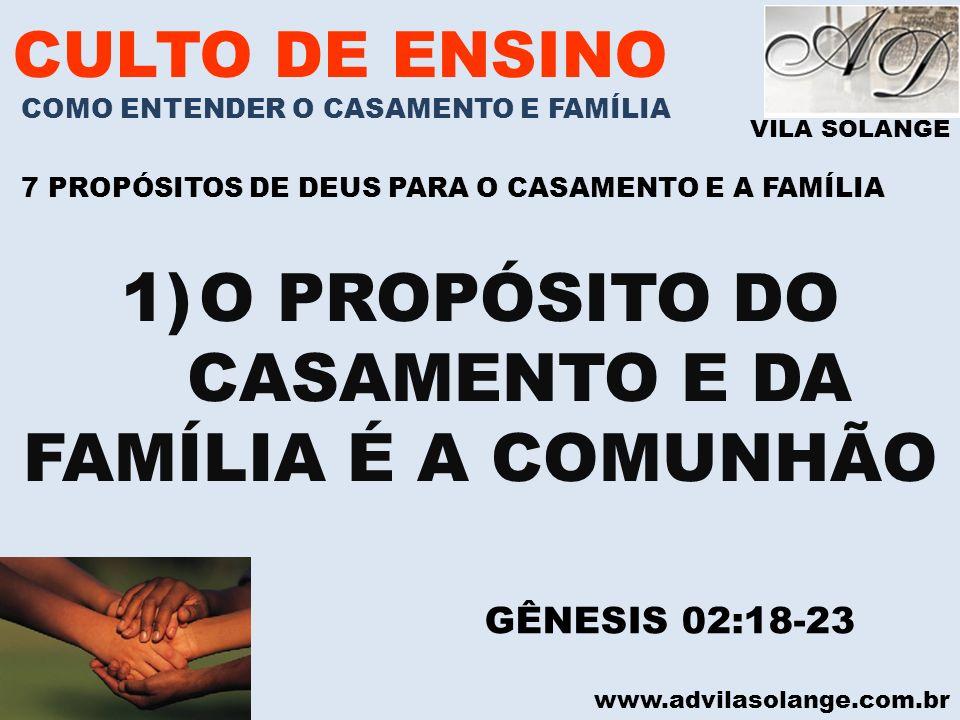 VILA SOLANGE www.advilasolange.com.br CULTO DE ENSINO COMO ENTENDER O CASAMENTO E FAMÍLIA 7 PROPÓSITOS DE DEUS PARA O CASAMENTO E A FAMÍLIA 1)O PROPÓS