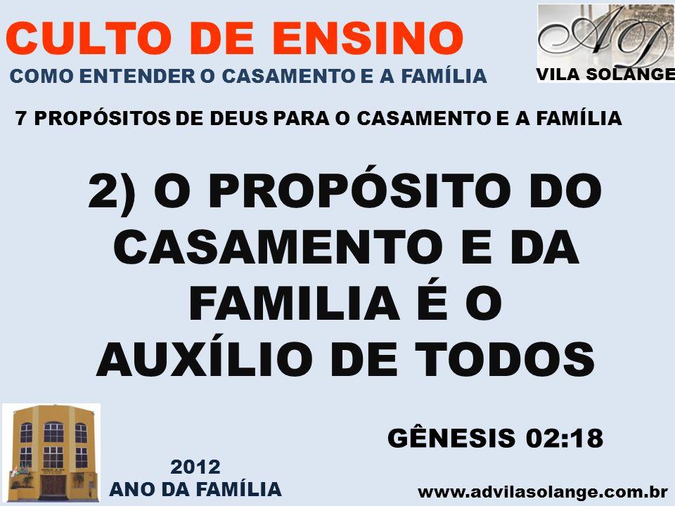 VILA SOLANGE www.advilasolange.com.br CULTO DE ENSINO COMO ENTENDER O CASAMENTO E A FAMÍLIA 7 PROPÓSITOS DE DEUS PARA O CASAMENTO E A FAMÍLIA 2) O PRO