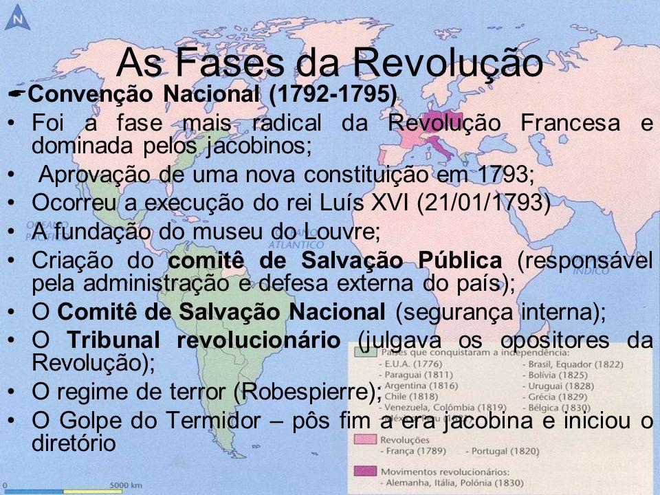 As Fases da Revolução Convenção Nacional (1792-1795) Foi a fase mais radical da Revolução Francesa e dominada pelos jacobinos; Aprovação de uma nova c