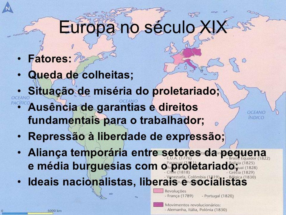 Europa no século XIX Fatores: Queda de colheitas; Situação de miséria do proletariado; Ausência de garantias e direitos fundamentais para o trabalhado
