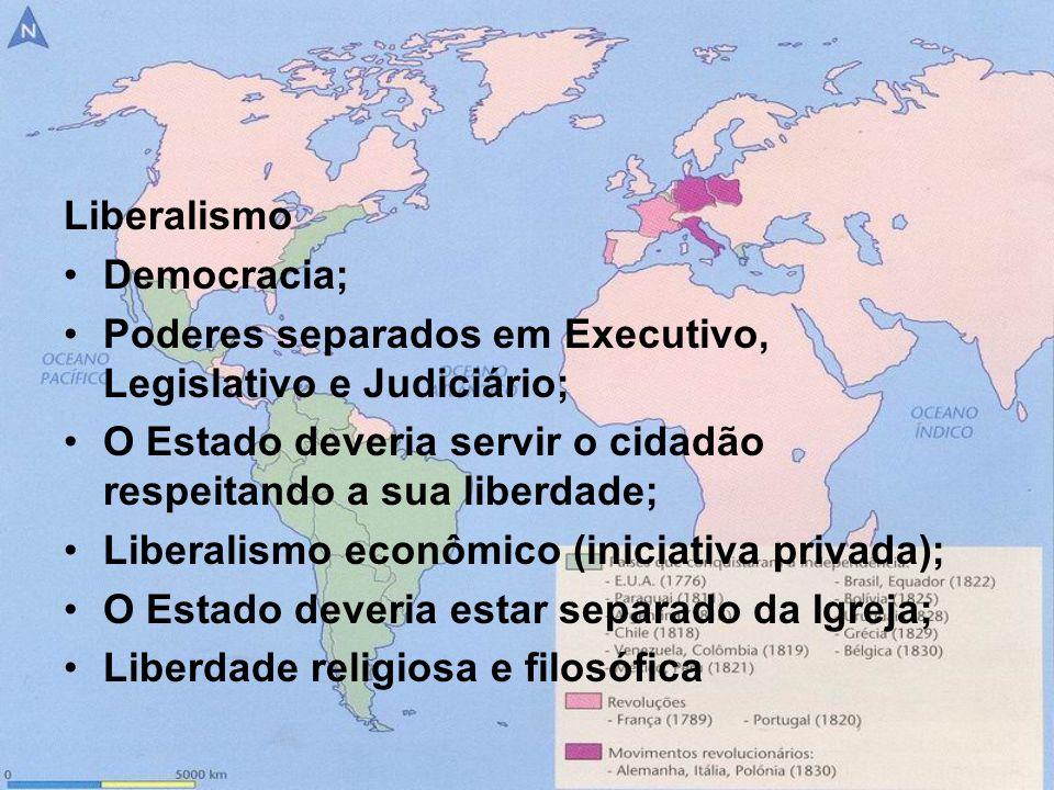 Liberalismo Democracia; Poderes separados em Executivo, Legislativo e Judiciário; O Estado deveria servir o cidadão respeitando a sua liberdade; Liber