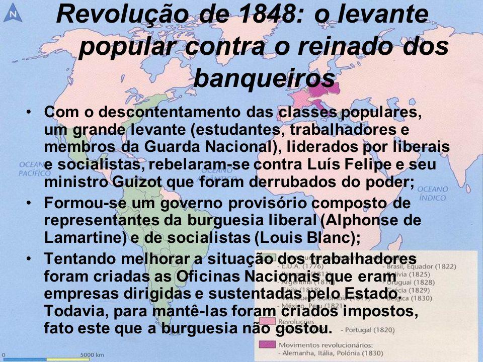 Revolução de 1848: o levante popular contra o reinado dos banqueiros Com o descontentamento das classes populares, um grande levante (estudantes, trab