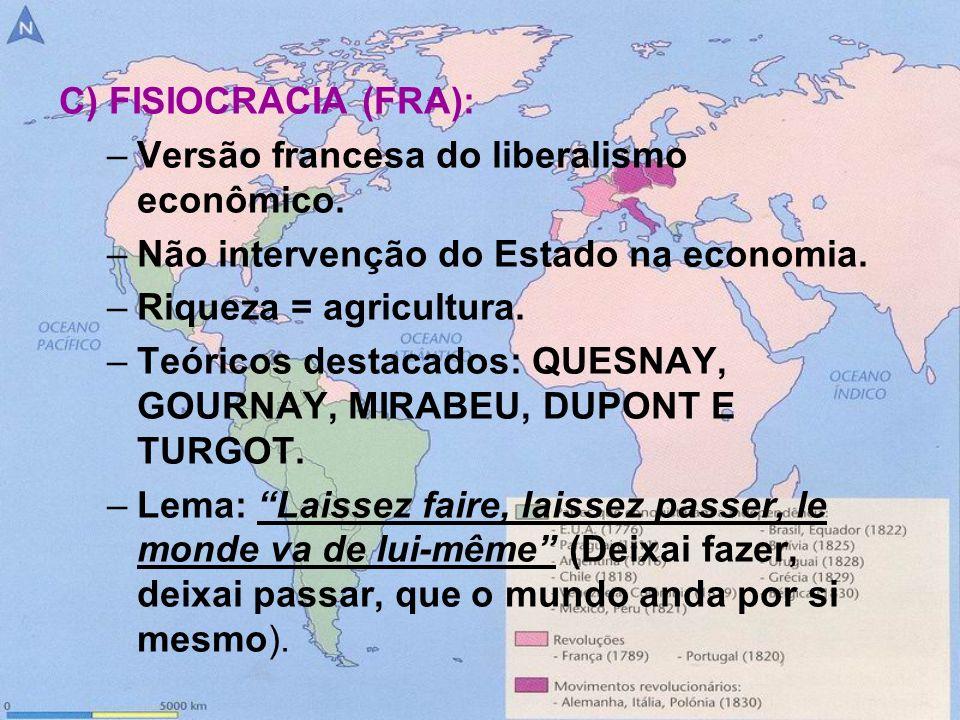 C) FISIOCRACIA (FRA): –Versão francesa do liberalismo econômico. –Não intervenção do Estado na economia. –Riqueza = agricultura. –Teóricos destacados: